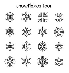 snowflakes icon set in thin line style vector image