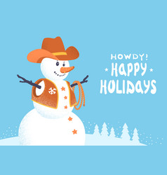 snowman in western cowboy clothes merry vector image