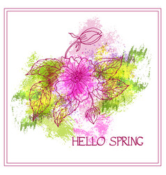 spring greeting card with flower on watercol vector image