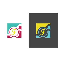 square letter f company logo vector image