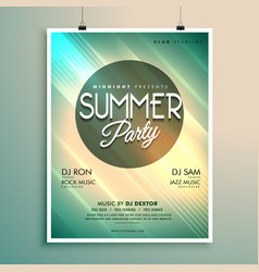 Summer music party flyer template with event vector