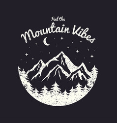 T-shirt design with mountains forest and night vector