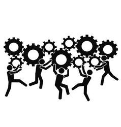 teams working with gears vector image
