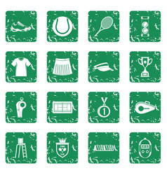 Tennis icons set grunge vector