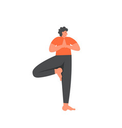 tree yoga pose flat style design vector image