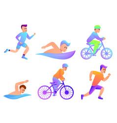 Triathlon icons set cartoon style vector