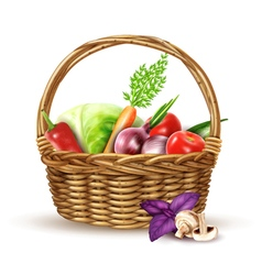 Vegetables Harvest Wicker Basket Realistic Image vector image