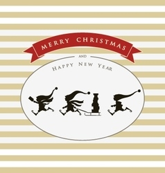 Vintage card with cute elves Merry Christmas vector