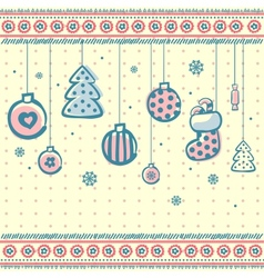 Vintage Christmas set of design elements vector image