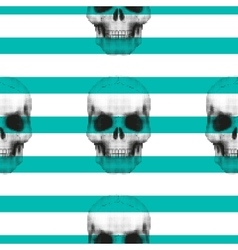 Vintage hipster seamless pattern with skull vector