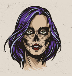 vintage spooky woman head vector image