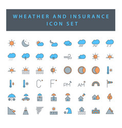 Weather and insurance icon set with filled vector