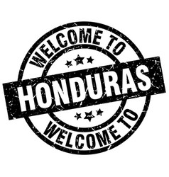 Welcome to honduras black stamp vector