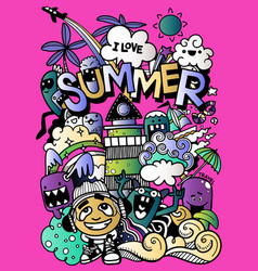 With hand drawn doodle cute monster and summer vector