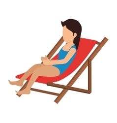 woman relax in the chair beach vector image