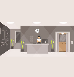 woman working at the reception desk vector image
