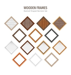 Wooden diamond-shaped banners set vector