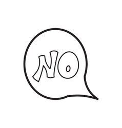 Word no in bubble speech icon outline style vector image