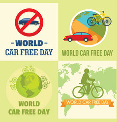 World car free day walking banner set flat style vector