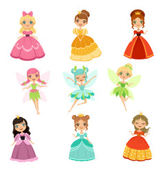 cartoon funny fantasy princesses in different vector image vector image
