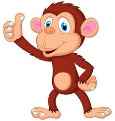 Cute monkey cartoon giving thumb up vector image vector image