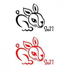 rabbit Chinese new year vector image
