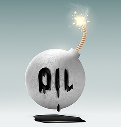 round bomb with a fuse and an inscription oil vector image vector image