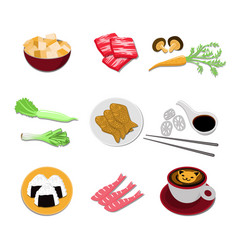 set of japanese food icons asian cuisine elements vector image vector image