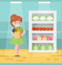 woman in grocery store vector image