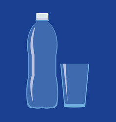 empty plastic bottle and glass flat icon vector image