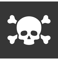 Skull with Crossbones Icon on Black Background vector image vector image