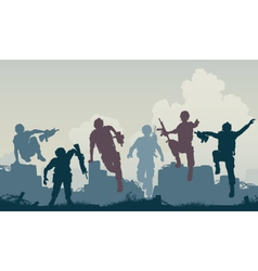 soldiers advance vector image