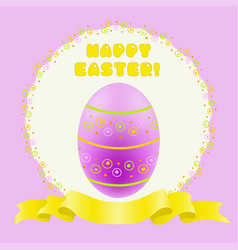 easter purple painted egg and golden ribbon vector image vector image