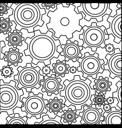 monochrome background with pattern of pinions vector image