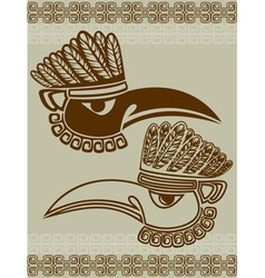 Native American raven mask with pattern stencil vector image vector image