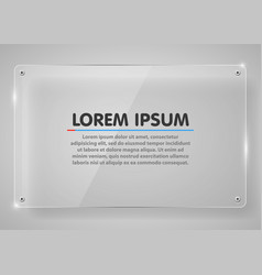 realistic horizontal transparent glass frame with vector image vector image