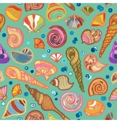 Colorful sketched kid seamless seashell pattern vector