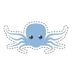 purple octopus sea life cut line vector image vector image