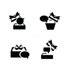 set black gift and bubble talk icons topview vector image