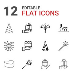 12 anniversary icons vector