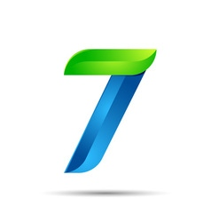 3d Number seven 7 logo with speed green leaves vector image