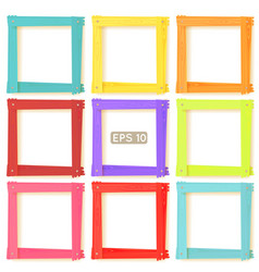 9 wooden picture frames color set vector