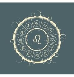 Astrology symbols in circle Lion sign vector