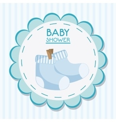 Baby sock inside flower seal stamp design vector image