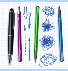 ballpoint pen and hand drawn doodle set vector image