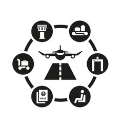 Black airport icon set vector