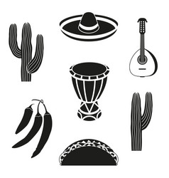 Black and white 7 mexican elements vector