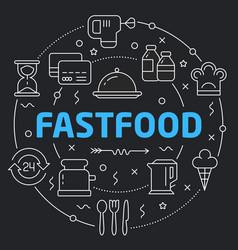 Black line flat circle fastfood vector