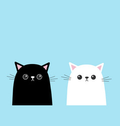 Black white cute cat kitten face set cartoon vector