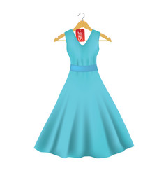 blue dress on hanger with price tag vector image